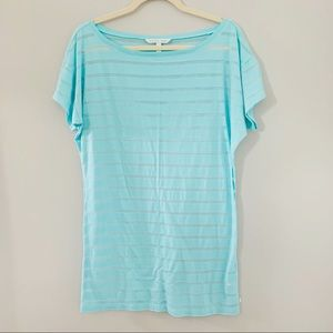 Victoria's Secret shadow stripe tunic tee blue S